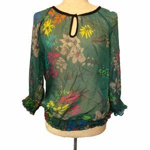 Zara semi sheer green floral blouse size medium